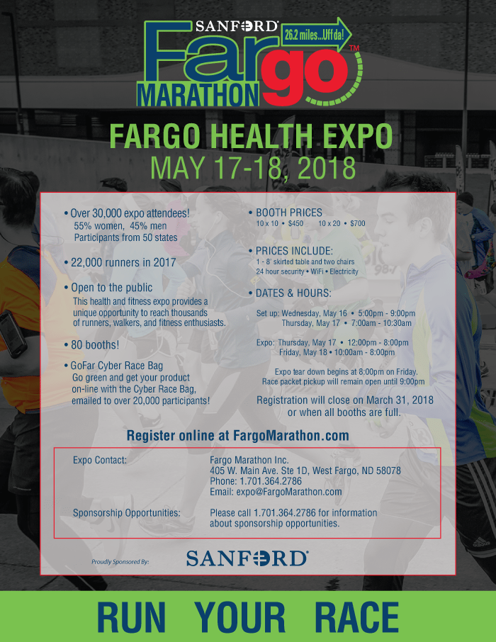 'Expo Flyer' from the web at 'http://fargomarathon.com/wp-content/uploads/2017/12/Expo_Flyer_2018.png'